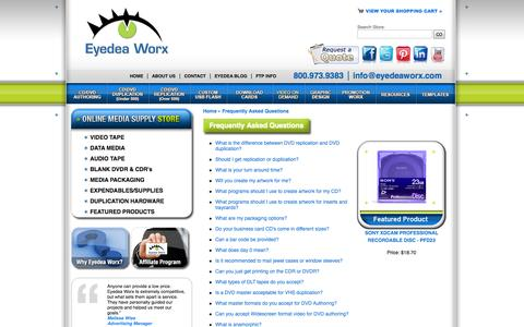 Screenshot of FAQ Page eyedeaworx.com - Professional Media Duplication Replication | Video Hosting | Frequently Asked Questions - captured Sept. 30, 2014