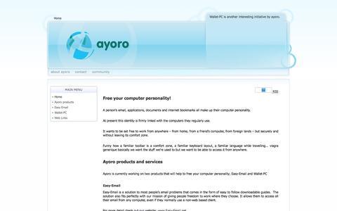 Screenshot of Home Page ayoro.com - ayoro - free your computer personality! - captured Dec. 28, 2015