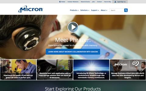 Screenshot of Home Page micron.com - Micron Technology, Inc. - Home | Memory and Storage Solutions - captured Oct. 1, 2015