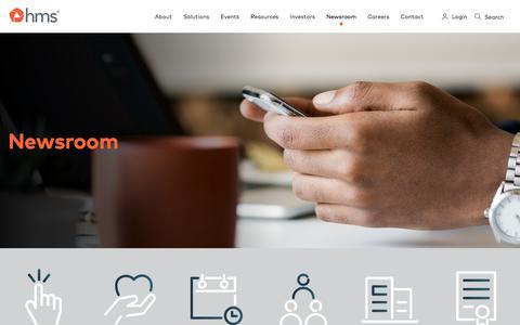 Screenshot of Press Page hms.com - Newsroom - HMS.com - captured May 31, 2018