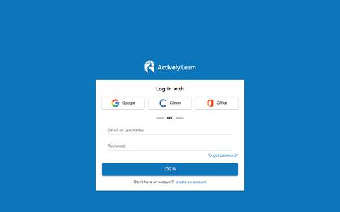 Screenshot of Signup Page Login Page activelylearn.com - Sign In to Actively Learn - captured Nov. 7, 2019