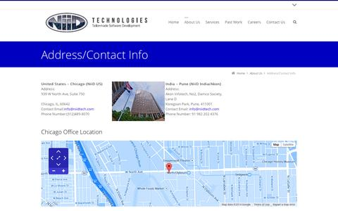 Screenshot of Locations Page niidtech.com - NiiD's Address and Contact Information - captured Oct. 6, 2014