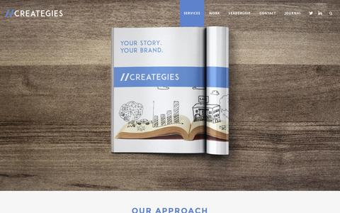 Screenshot of Services Page creategies.com - Services | //CREATEGIES | Integrated Communications | Your Story. Your Brand. - captured July 24, 2015