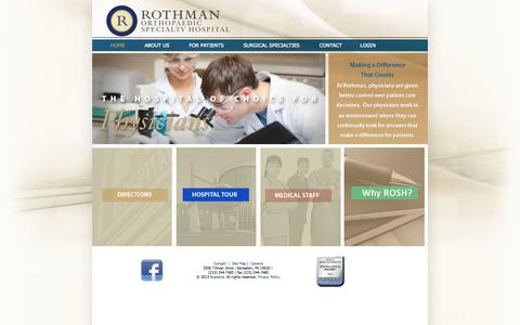 Screenshot of Home Page Site Map Page rothmanspecialtyhospital.com - Rothman Specialty Hospital | Orthopaedic Specialty Hospital - captured Oct. 9, 2014