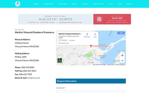Screenshot of Contact Page mvy.com - Contact Us | Martha's Vineyard Chamber of Commerce | Vineyard Haven, MA - captured Nov. 7, 2018