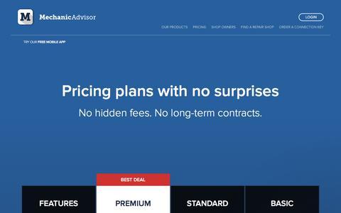 Screenshot of Pricing Page mechanicadvisor.com - Gregg says… - captured Sept. 23, 2018