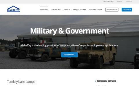 Screenshot of mahaffeyusa.com - Military & Government - captured March 20, 2016
