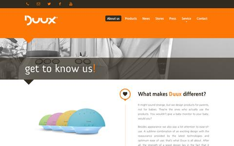 Screenshot of About Page duux.com - Duux | About us - Duux - Enjoy the difference! - captured Oct. 5, 2014