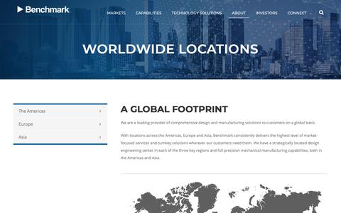 Screenshot of Locations Page bench.com - Worldwide Locations | Benchmark Electronics - captured March 12, 2019
