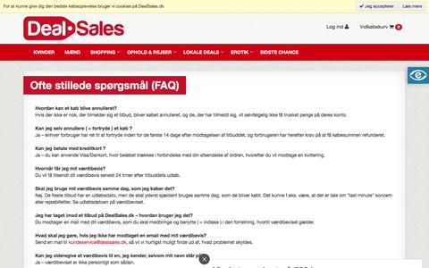Screenshot of FAQ Page dealsales.dk - Ofte stillede spørgsmål - captured Nov. 24, 2016