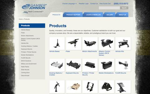 Screenshot of Products Page gamberjohnson.com - Durable Vehicle Laptop Mounts for Cars & Trucks | Gamber-Johnson - captured Oct. 2, 2014