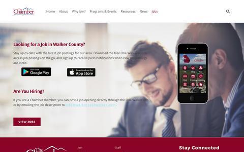 Screenshot of Jobs Page walkercochamber.com - Jobs in Walker County - Walker County Chamber of Commerce - captured Oct. 19, 2017
