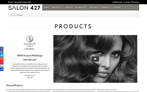 Screenshot of Products Page salon427.com - Products - captured May 27, 2017