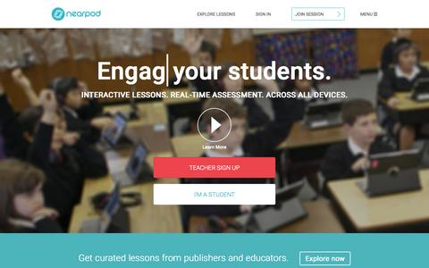 Screenshot of Home Page nearpod.com - Nearpod: Create, Engage, Assess through Mobile Devices. | Interactive Lessons | Mobile Learning | Apps for Education | iPads in the Classroom - captured Oct. 2, 2015