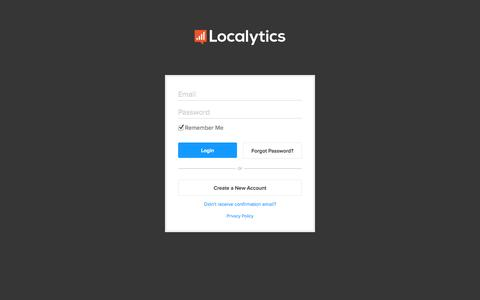 Screenshot of Login Page localytics.com - Login - Localytics - captured Sept. 16, 2014