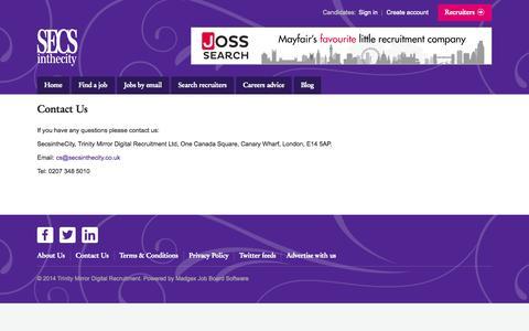 Screenshot of FAQ Page secsinthecity.co.uk - SecsintheCity - Contact us - captured Sept. 23, 2014