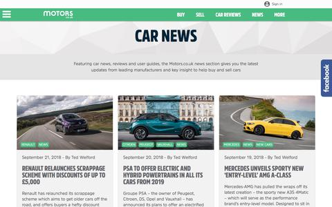 Screenshot of Press Page motors.co.uk - Latest Motoring News - Motors.co.uk - captured Sept. 22, 2018