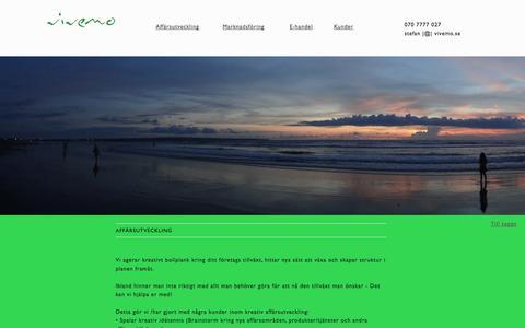 Screenshot of Home Page vivemo.se - Vivemo AB – Kreativ affärsutveckling  – E-handel – Marknadsföring - captured Oct. 6, 2014