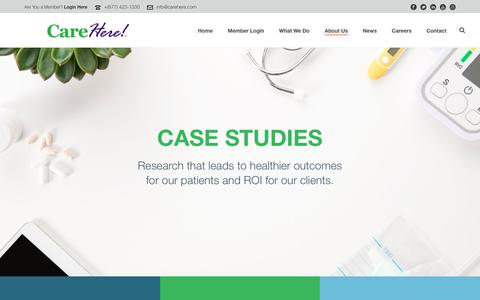 Screenshot of Case Studies Page carehere.com - Case Studies - captured March 13, 2019