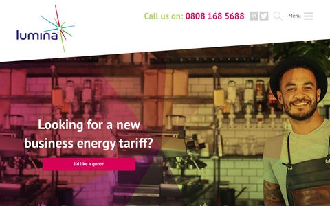 Screenshot of Home Page luminaenergy.co.uk - Lumina Energy - Business Energy Tariffs - captured Sept. 30, 2018