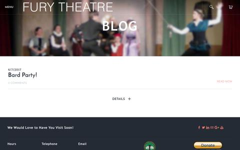 Screenshot of Blog furytheatre.org - Fury Theatre - Fury Theatre Blog - captured June 6, 2017