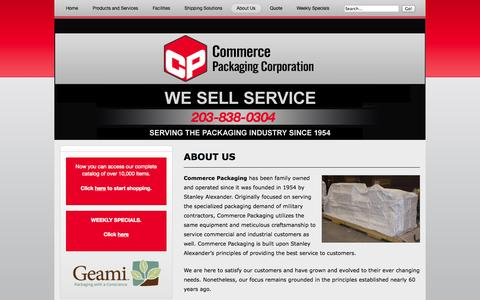 Screenshot of About Page commercepackaging.com - About Us – Company History – Learn More - captured Sept. 30, 2014
