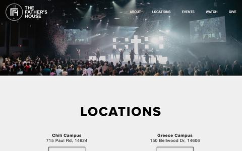 Screenshot of Locations Page tfhny.org - Locations and Service Times   The Father's House - captured Sept. 14, 2018