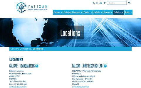 Screenshot of Locations Page calixar.com - Where to find us in France, USA and Japan | Calixar - captured July 12, 2018
