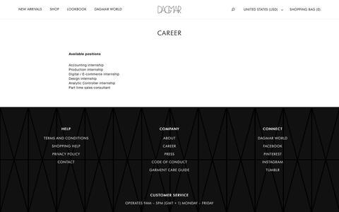 Screenshot of Jobs Page houseofdagmar.com - Career – House of Dagmar - captured July 17, 2016