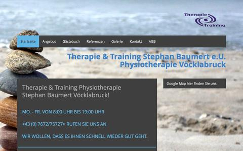 Screenshot of Home Page therapie-training.at - Physiotherapie Baumert Vöcklabruck - Physiotherapie Vöcklabruck - captured June 10, 2016