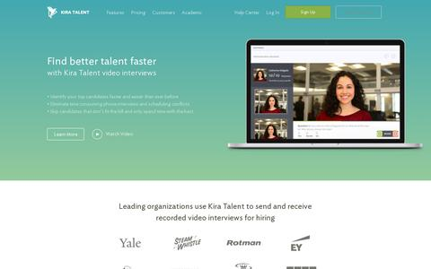 Screenshot of Home Page kiratalent.com - Online Video Interviews | Video Interviewing Made Easy - Kira Talent - captured July 11, 2014