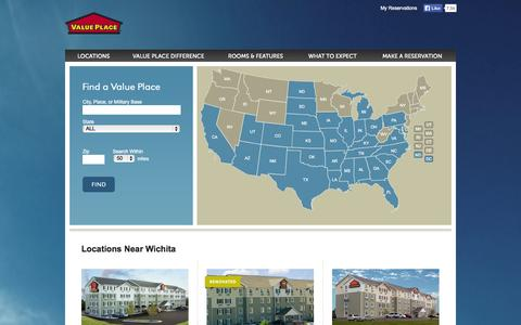 Screenshot of Locations Page valueplace.com - Find a Value Place hotel near you or wherever you'd like to go. - captured Sept. 19, 2014