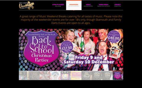 Screenshot of Home Page vhpweekenders.co.uk - Adult Weekends | Party Breaks | Weekends Away | Vauxhall  Music Weekenders - captured April 3, 2016