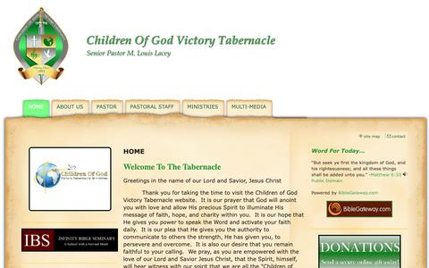Screenshot of Home Page cogvt.com - Children Of God Victory Tabernacle - HOME - captured Sept. 27, 2018