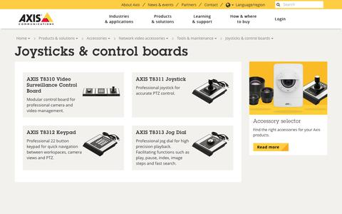 Screenshot of axis.com - Joysticks & control boards | Axis Communications - captured July 30, 2017