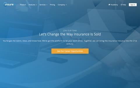 Screenshot of Jobs Page insureio.com - Help Us Build the Best Insurance CRM Software | Insureio.com - captured March 24, 2017