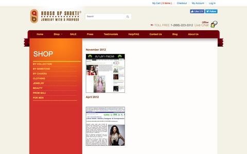 Screenshot of Press Page houseofshakti.com - Press - captured Nov. 11, 2016