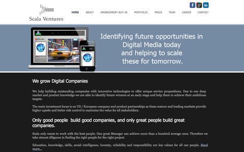 Screenshot of Home Page scala-ventures.com - Scala Ventures - captured July 27, 2018