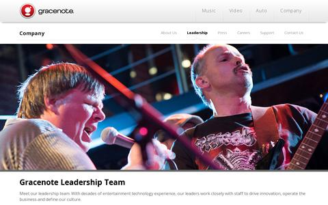 Screenshot of Team Page gracenote.com - Gracenote | Leadership - captured July 20, 2014