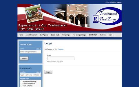 Screenshot of Login Page trademarkrealestate.com - User Login |  Hot Springs Arkansas Real Estate- Trademark Real Estate - captured Aug. 16, 2016