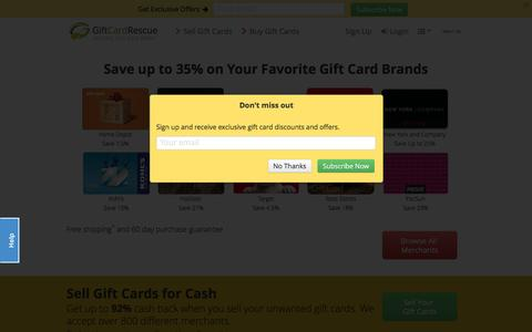 Screenshot of Home Page giftcardrescue.com - Buy Gift Cards Online | GiftCardRescue - captured Dec. 23, 2015