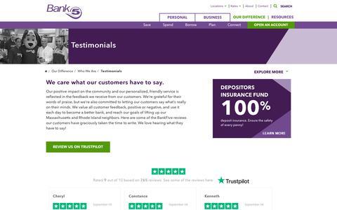 Screenshot of Testimonials Page bankfive.com - Testimonials   Customer Feedback   MA, RI Bank   BankFive - captured Sept. 10, 2019