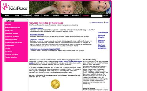 Screenshot of Services Page kidspeace.org - Services - captured Sept. 30, 2014