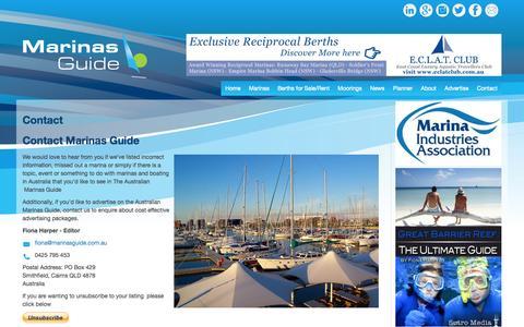 Screenshot of Contact Page marinasguide.com.au - Contact | Marinas Guide - captured Nov. 2, 2014