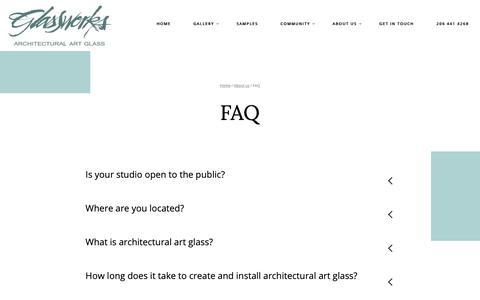 Screenshot of FAQ Page glassworksinc.com - FAQ - Glasswork Inc - captured Nov. 5, 2018