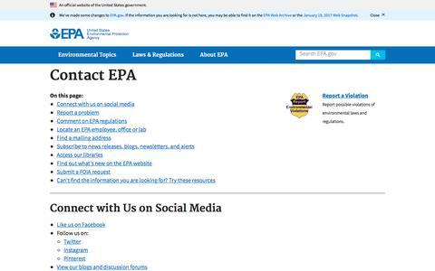 Screenshot of Contact Page epa.gov - Contact EPA   U.S. Environmental Protection Agency   US EPA - captured Sept. 21, 2018