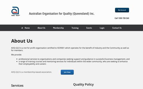 Screenshot of About Page aoq.org.au - AOQ-QLD a non-for-profit for the benefit of industry, the community and its members - captured Oct. 2, 2018