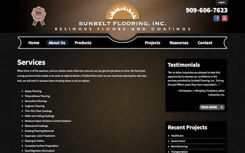 Screenshot of Services Page sunbeltflooring.com - Sunbelt Flooring | Services - captured Oct. 7, 2014