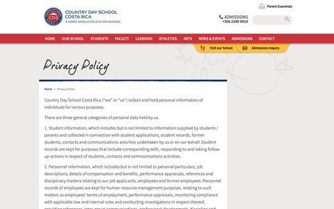 Screenshot of Privacy Page nordangliaeducation.com - Privacy Policy International School. Colegio Internacional - captured Dec. 15, 2018