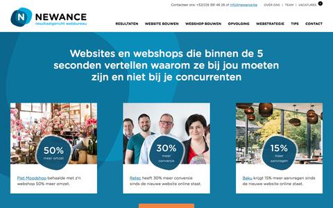 Screenshot of Home Page newance.be - Resultaatgericht webbureau | Newance - captured Nov. 7, 2017